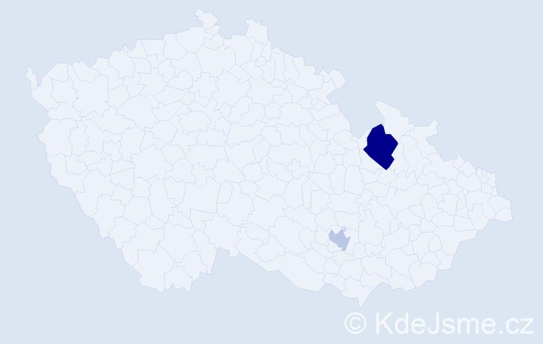 Příjmení: 'Haitmar', počet výskytů 7 v celé ČR