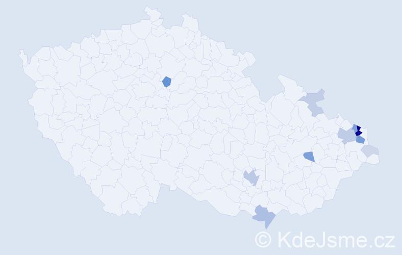 Příjmení: 'Damcová', počet výskytů 37 v celé ČR