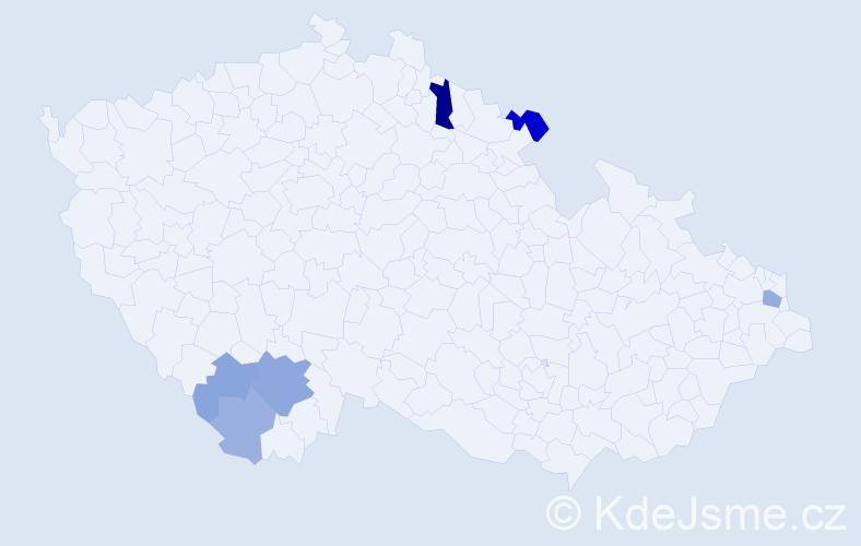 Příjmení: 'Labik', počet výskytů 12 v celé ČR