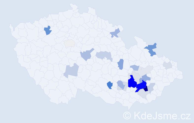 Příjmení: 'Dundálek', počet výskytů 84 v celé ČR