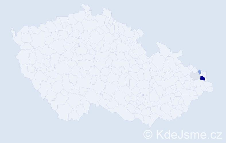 Příjmení: 'Cięžak', počet výskytů 13 v celé ČR