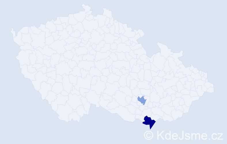 Příjmení: 'Frib', počet výskytů 2 v celé ČR