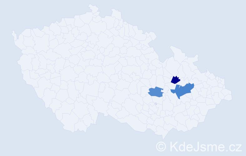 Příjmení: 'Kyntl', počet výskytů 9 v celé ČR