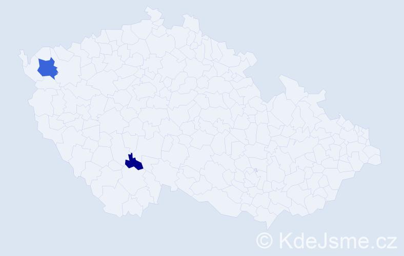 Příjmení: 'Geršák', počet výskytů 4 v celé ČR