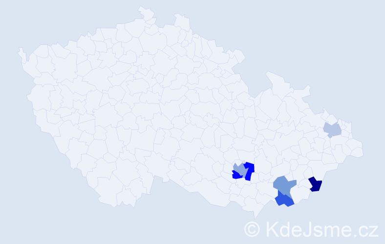Příjmení: 'Bžatková', počet výskytů 8 v celé ČR