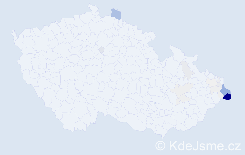 Příjmení: 'Ježowiczová', počet výskytů 69 v celé ČR