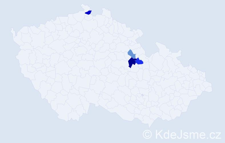 Příjmení: 'Jiruf', počet výskytů 17 v celé ČR