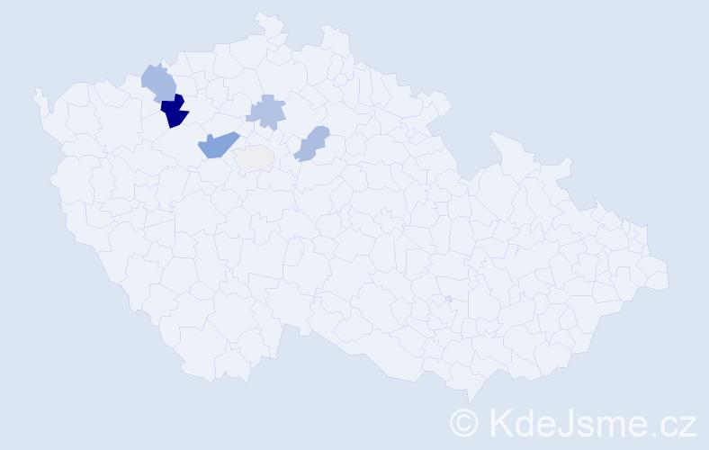 Příjmení: 'Hamous', počet výskytů 14 v celé ČR