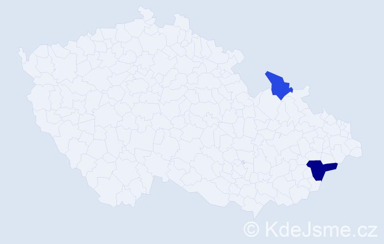 Příjmení: 'Hůževková', počet výskytů 7 v celé ČR