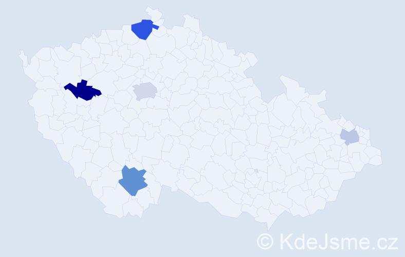 Příjmení: 'Bartha', počet výskytů 8 v celé ČR