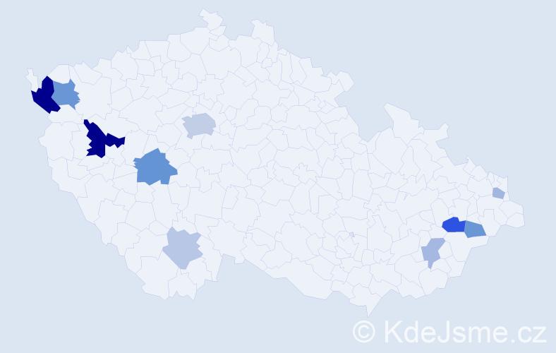 Příjmení: 'Čmok', počet výskytů 23 v celé ČR