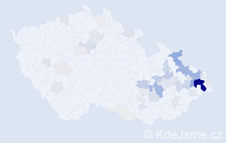 Příjmení: 'Laník', počet výskytů 208 v celé ČR