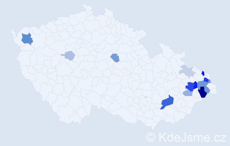 Příjmení: 'Ďurkáč', počet výskytů 39 v celé ČR