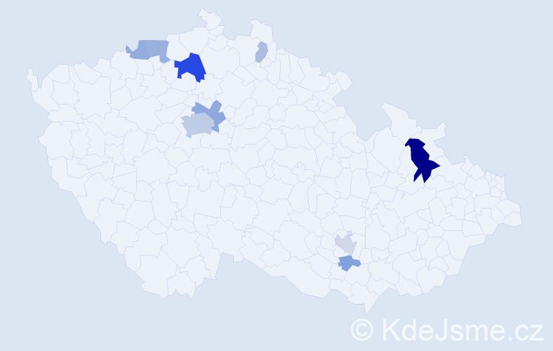 Příjmení: 'Klučiar', počet výskytů 28 v celé ČR