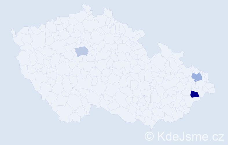Příjmení: 'Kmoščáková', počet výskytů 4 v celé ČR