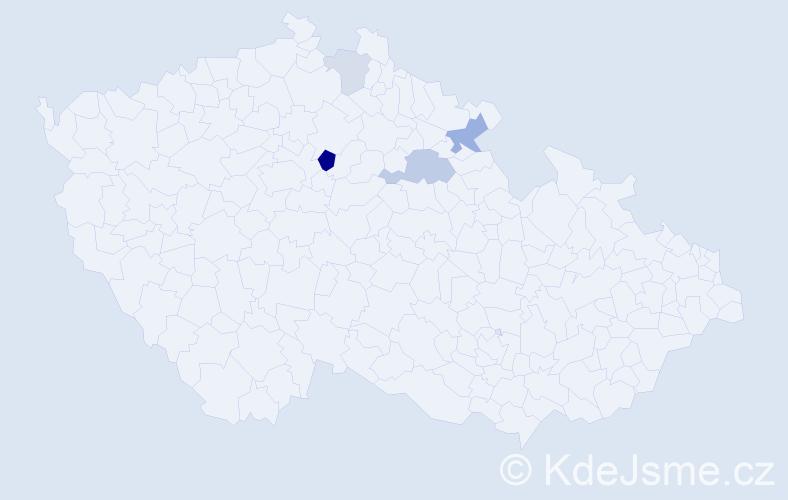 Příjmení: 'Čupela', počet výskytů 9 v celé ČR