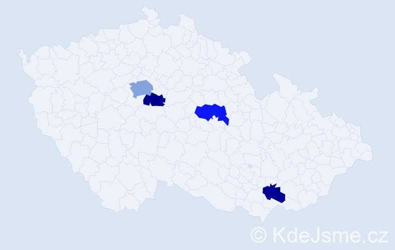 Příjmení: 'Knížeová', počet výskytů 6 v celé ČR