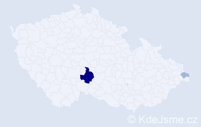 Příjmení: 'Kusiová', počet výskytů 6 v celé ČR