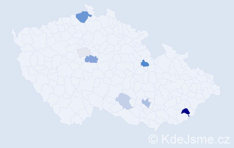 Příjmení: 'Hejmalíček', počet výskytů 20 v celé ČR