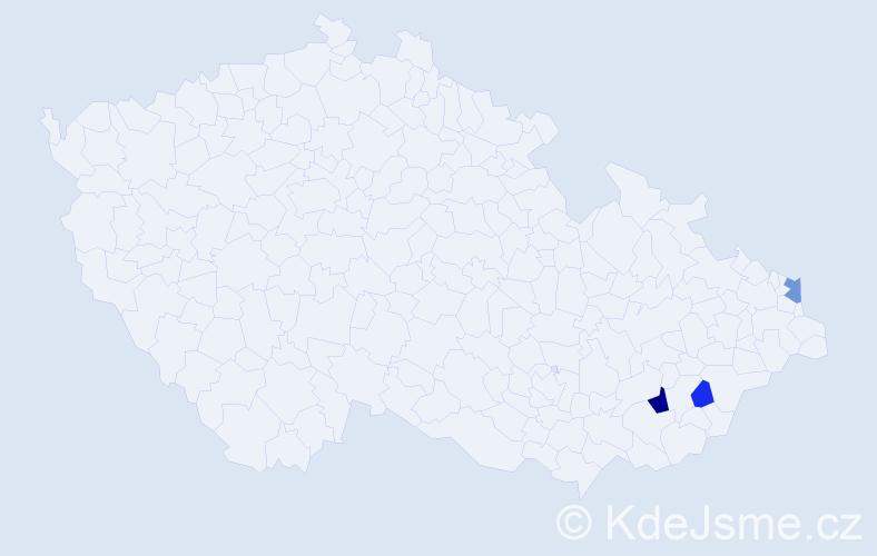 Příjmení: 'Hradila', počet výskytů 6 v celé ČR