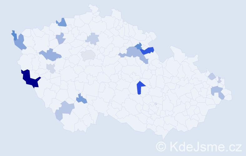 Příjmení: 'Jarina', počet výskytů 48 v celé ČR