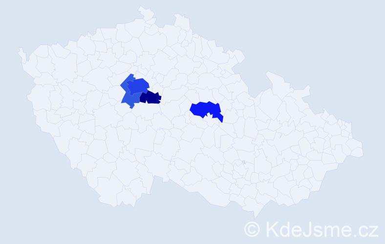 Příjmení: 'Fixmerová', počet výskytů 11 v celé ČR