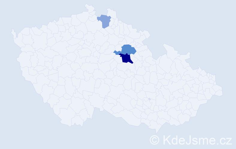 Příjmení: 'Hanovec', počet výskytů 7 v celé ČR