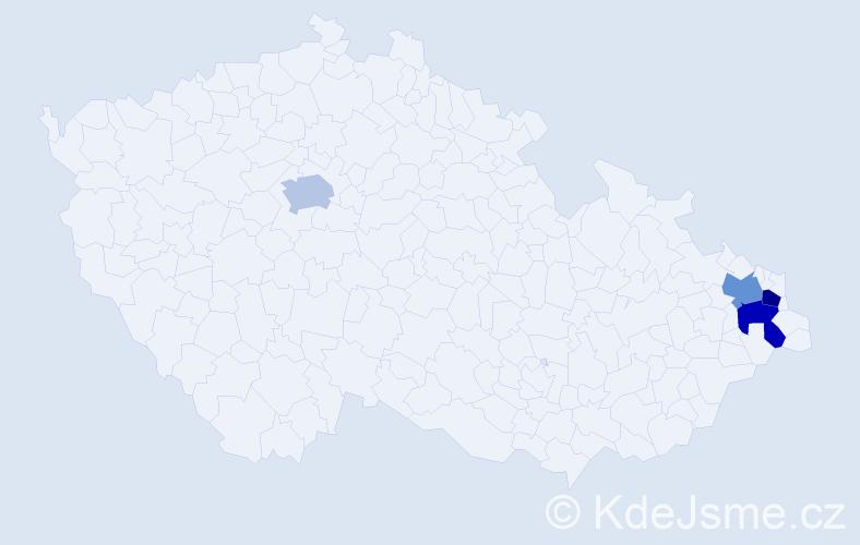 Příjmení: 'Handzlíková', počet výskytů 4 v celé ČR