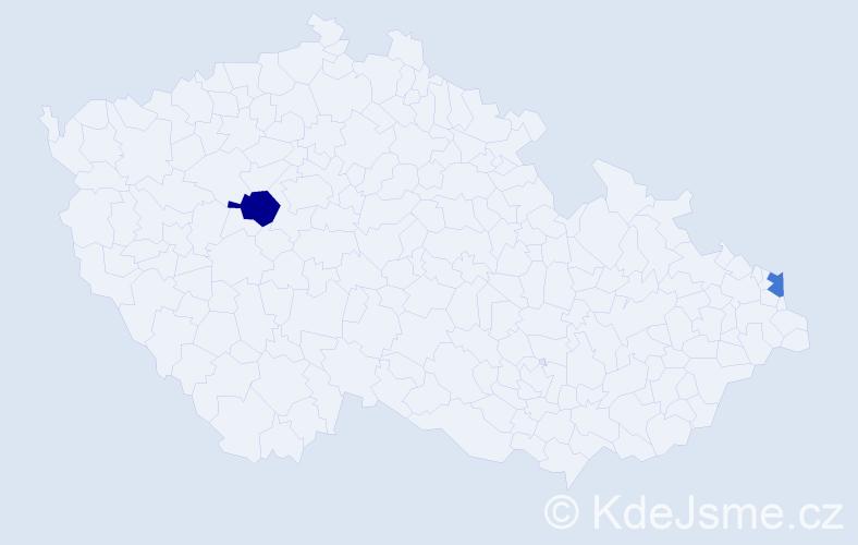 Příjmení: 'Dereń', počet výskytů 5 v celé ČR