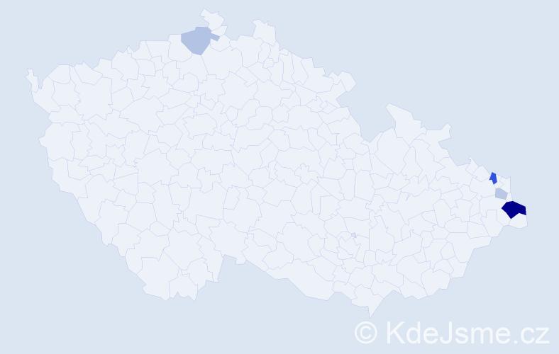Příjmení: 'Kafonková', počet výskytů 10 v celé ČR