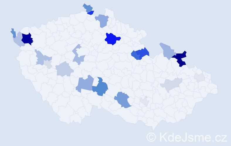 Příjmení: 'László', počet výskytů 52 v celé ČR