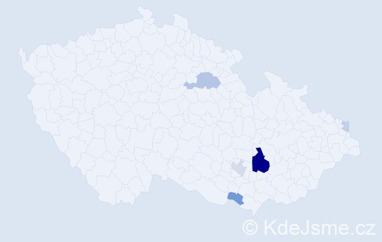 Příjmení: 'Danada', počet výskytů 14 v celé ČR