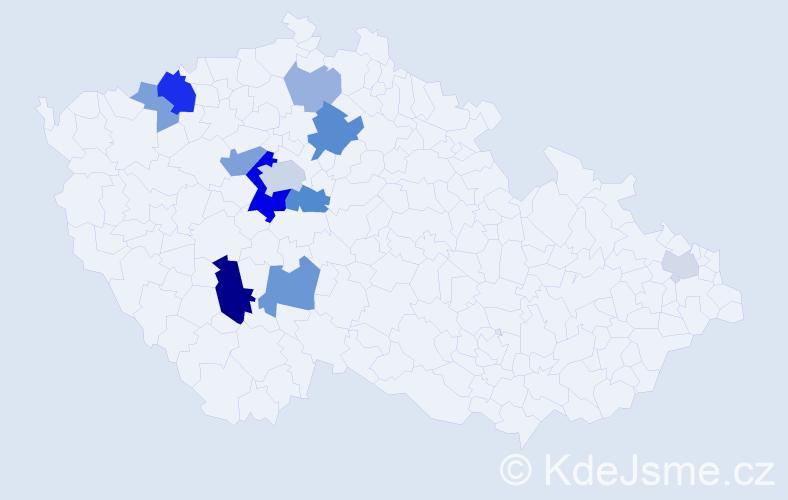 Příjmení: 'Dubayová', počet výskytů 30 v celé ČR