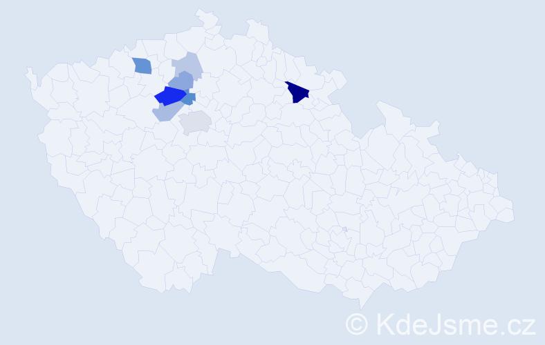 Příjmení: 'Kejkrt', počet výskytů 22 v celé ČR