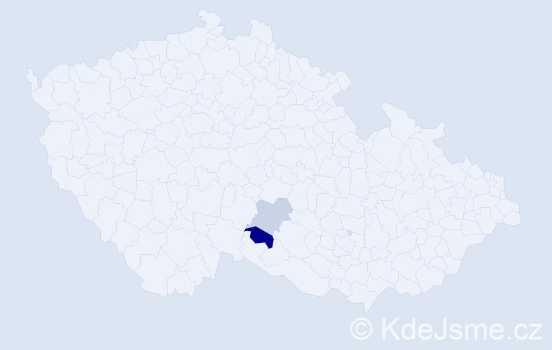 Příjmení: 'Hillay', počet výskytů 3 v celé ČR