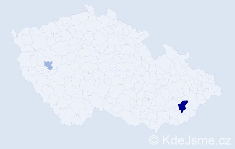 Příjmení: 'Butnikošarovski', počet výskytů 5 v celé ČR