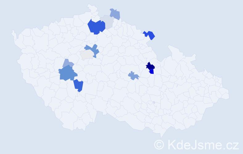 Příjmení: 'Bašíková', počet výskytů 36 v celé ČR
