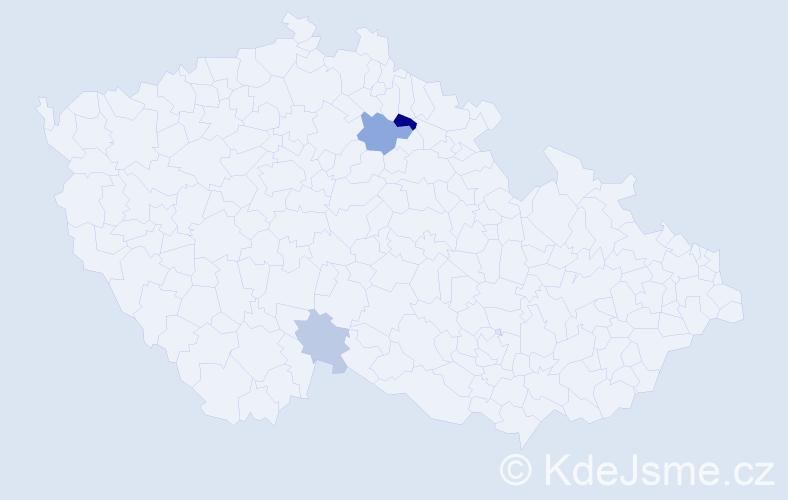 Příjmení: 'Hoška', počet výskytů 17 v celé ČR