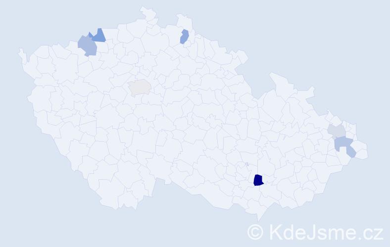 Příjmení: 'Chomčová', počet výskytů 8 v celé ČR