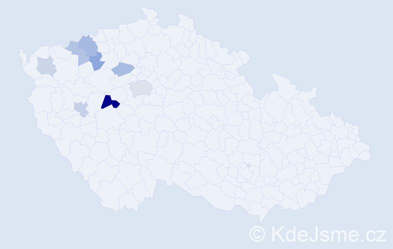 Příjmení: 'Čabounová', počet výskytů 18 v celé ČR