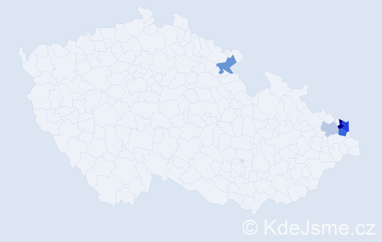 Příjmení: 'Čviriková', počet výskytů 8 v celé ČR