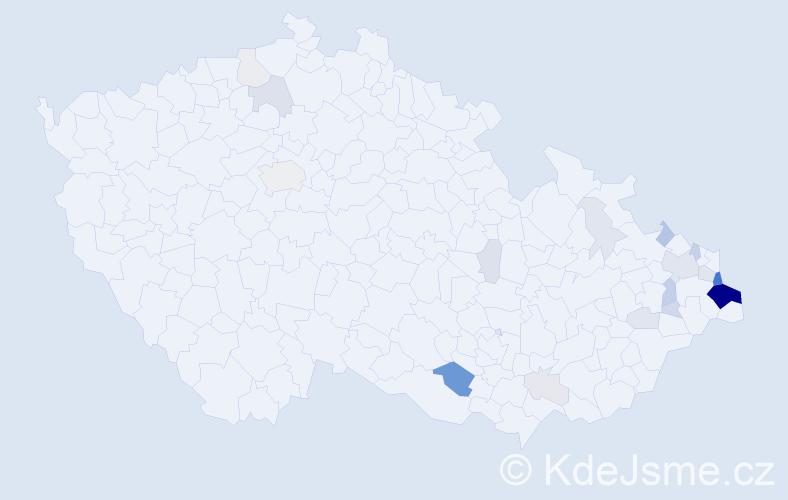 Příjmení: 'Czernek', počet výskytů 87 v celé ČR
