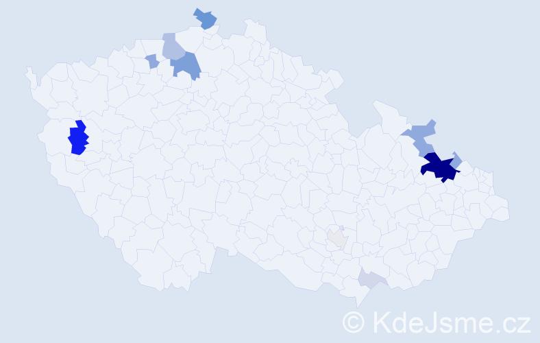 Příjmení: 'Bolík', počet výskytů 39 v celé ČR