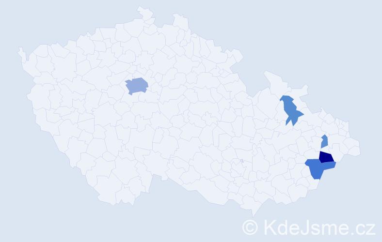 Příjmení: 'Garncarzová', počet výskytů 13 v celé ČR