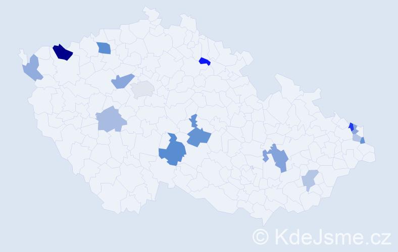Příjmení: 'Brečka', počet výskytů 25 v celé ČR