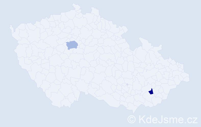 Příjmení: 'Choi', počet výskytů 4 v celé ČR
