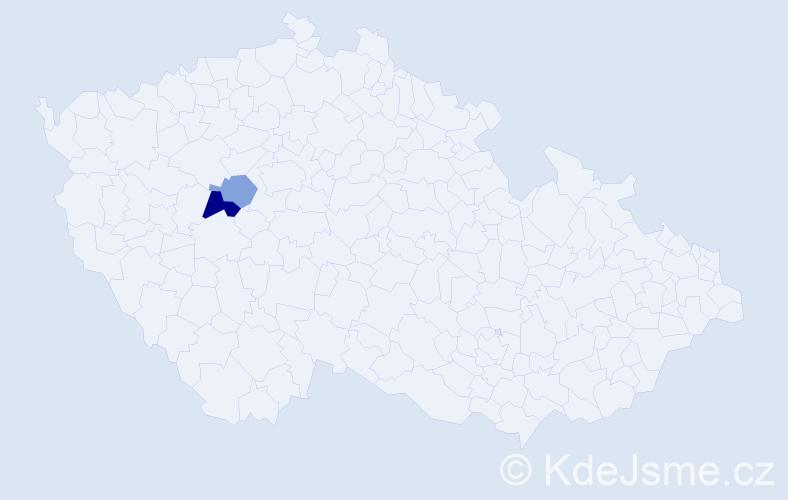 Příjmení: 'Ladovský', počet výskytů 3 v celé ČR