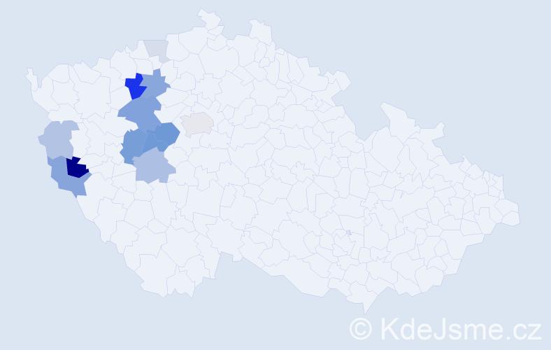 Příjmení: 'Huttr', počet výskytů 30 v celé ČR