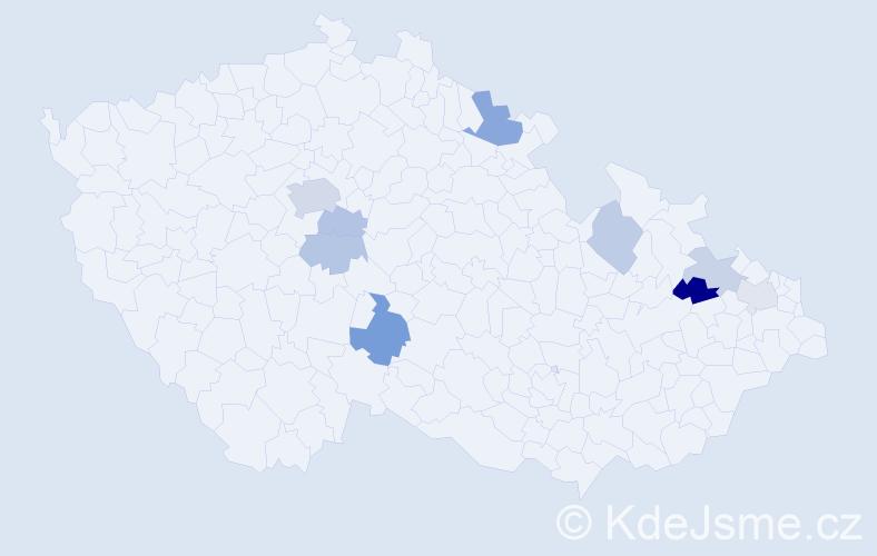 Příjmení: 'Ďuríček', počet výskytů 17 v celé ČR