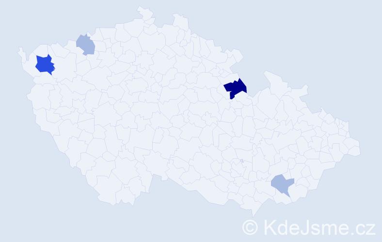 Příjmení: 'Madžová', počet výskytů 9 v celé ČR